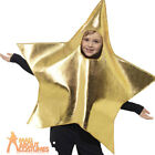 Child Shining Gold Star Costume Christmas Nativity Fancy Dress Outfit
