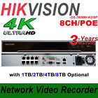 DS-7608NI-K2/8P Embedded Plug and Play 4K NVR, 8-Channel, 8-PoE, H265,8MP,HDMI