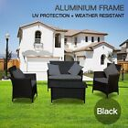 4 pcs PE Wicker Aluminum Frame Outdoor Lounge deluxe Setting Black or Brown