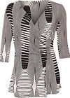 Womens Plus Wrapover Cowl V Neck Stripe Monochrome Ruched 3/4 Sleeve Ladies Top