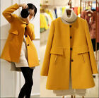 Plus Size Fashion Women Girl Wool Blend Round collar Slim Coat Jacket Outwear