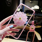 Cute Daisy Flower Mirror Soft Side Hard Clear Strap Case Cover for Cell Phones