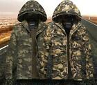 Mens Zipper Hooded Canvas Camo Jacket Autumn Unility Coat Military Parka Slim