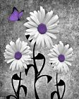 Purple Gray Wall Pictures, Daisy Flowers Butterly Wall Art, Purple Theme Decor