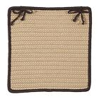 Boat House Indoor Outdoor Braided Square Chair Pad, Tan with Brown Border
