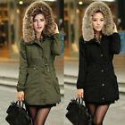 Womens Ladies Quilted Winter Coat Fur Hooded Jacket Parka Tops Outwear Fashion