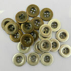 5 x METAL DENIM BUTTONS jacket /jeans antique bronze/silver sizes 12mm & 15mm