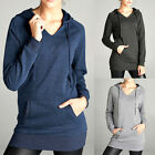 Hooded V-NECK Hoodie Sweater Womens Tunic Top Long Sleeve Brush Fleece Pullover