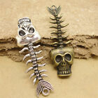 5/26pcs Wholesale Tibetan Silver Fishbone Skull Jewelry Charm Pendant 60x20mm S