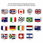 Flag Theme 925 Sterling Silver Beads for European Charm Bracelet Necklace