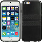 NEW Black Apple iPhone 6S Protective Case PU Leather With Carbon Fiber Strip