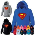 Mens Womens Superhero Superman Heavy Cotton Hooded Sweatshirts Hoody Hoodie 6A