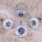 Black Sapphire White Topaz Silver Jewelry Sets Earrings Pendant Ring S0133