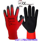 12 Pairs RED CUT 1 Protection Liner Black PU Coated Palm Safety Work Gloves