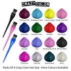 Crazy Color Semi Permanent Hair Dye By Renbow X4 100ml Bottles With Tint Brush