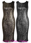 WOMENS SLEEVELESS SNAIL TRAIL SEQUIN EMBELLISHED KNEE LENGTH PARTY DRESS
