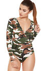 Womens Camouflage Wrap Over Bodysuit Top Ladies Long Sleeve Printed Leotard 8-14