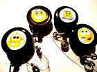 SET OF 4 smile face YOU CHOOSE yellow black office ID Badge Reel Holder recoil