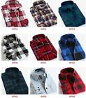 Mens Classic Flannel Plaids Checks Cotton Long Sleeve Casual Dress Shirt Tops