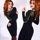 New Womens Ladies Casual Long Sleeve Bodycon Evening Party Cocktail Pencil Dress
