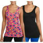 2-Pack No Boundaries Juniors Solid Black, Graphic Layering Tank Top S M L 2XL