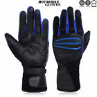 Motorbike Gloves Cowhide Leather GEL Padded Palm All Season  Motorcycle  Blue