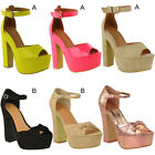 Womens Ladies Ankle Strap Chunky Block High Heels Platform Sandals Peep Toe Size