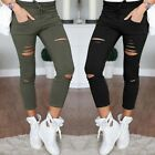 Women Skinny Ripped Pants High Waist Stretch Slim Pencil Trousers Lacing Pant