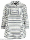 Ladies New Evans Stripe Cotton Collared Shirt Blouse Tunic Top Plus Size 14-28