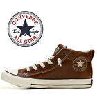 Mens Converse Chuck Taylor All Star Street Mid Fashion Sneaker Brown Leather NEW