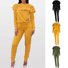2017 New Sexy Fashion Women Ladies Ruffle Sweatshirt Drawstring Jogging Pants