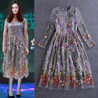 Womens Top Hand Embroidered Gauze Perspective Slim Full Length Dress Long Sleeve