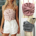2017 Women Ladies Celeb Fashion Suede Party Halter Evening Clubwear Zipper Tops