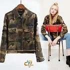 Vinatge MILITARY Army Camo Trench BOMBER Jacket women CAMOUFLAGE COAT Outerwear