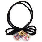 2016 Double Round Ball Ponytail Rubber Band Holder Ribbon Bow Hair Rope Decor
