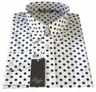 Relco Men's White Blue Polka Dots Spotted Button Down Collar Long Sleeved Shirt