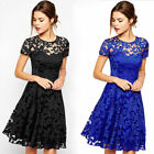 New Ladies Womens Round Neck Floral Lace Short Sleeve Pleated Party Skater Dress