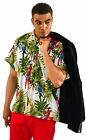 MENS SEXY WHITE COCKATIEL PARROT TROPICAL  HAWAIIA WEDDING SHIRT SZ S - 3XL