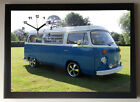 VW Camper Van - Blue A4 Picture Clock