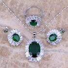 Green Emerald White Topaz Silver Jewelry Sets Earrings Pendant Ring S0090