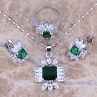 Adorable Green Emerald Topaz Silver Jewelry Sets Earrings Pendant Ring S0114