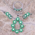 Green Emerald White Topaz Silver Jewelry Sets Earrings Pendant Ring S0150