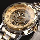 New Men Classic Transparent Skeleton Mechanical Stainless Steel Sport Wristwatch image