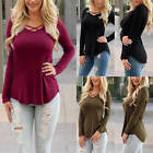 Plus Size Women's Lace Up Casual Tops T-Shirt Loose Blouse Long Sleeve Shirt