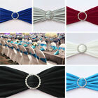10 Stretch Chair Cover Bands with Diamond Ring Buckle Wedding Party Chair Decor