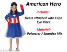 Girls Miss USA America Woman Costume Fancy Dress Superhero Comics Book Day