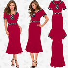 New Womens Ladies Office Pencil Bodycon Businss Tie Cocktail Party Flared Dress