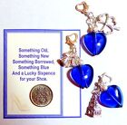 Something Blue Bridal Heart Charm for Garter +Gift Card & Lucky Wedding Sixpence