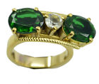 Emerald CZ Gold Plated sightly exporter Ring K,M,O,Q UK