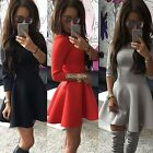 New Fashion Women 3/4 Sleeve Casual Pleated Solid Evening Party Mini Dress BF9